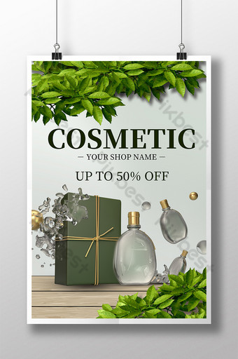 Beauty Cosmetics Gift Box Sen Leaf Plant Nature Poster Template PSD