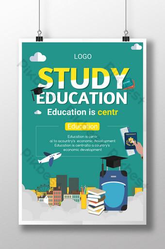 Étudier à l'étranger Voyage d'éducation à l'étranger pour apprendre l'affiche peinte à la main de dessin animé Modèle PSD