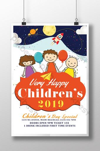 Modèle de Flyer de la journée des enfants 2019 Modèle PSD