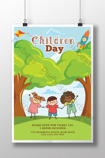 Modèles de flyers pour la journée des enfants heureux avec des enfants Modèle PSD