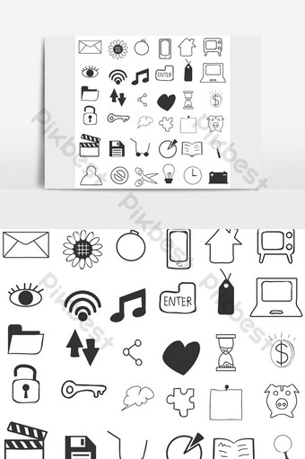 Icon set icon, simple drawing style PNG Images Template AI