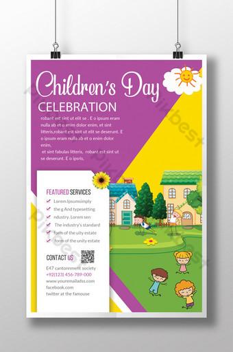 Modèles de flyers de fête des enfants pour la fête des enfants Modèle PSD
