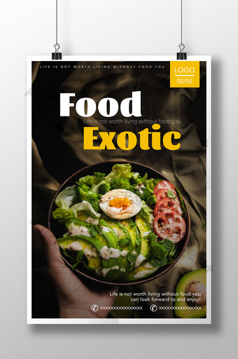 Exotic food delicious healthy diet green health salad restaurant poster Template PSD