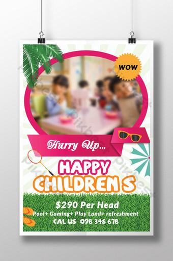 Modèles de flyers pour la journée des enfants heureux de style élégant Modèle PSD