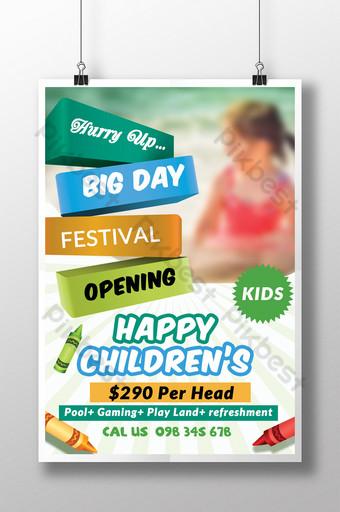 Modèles de flyers Happy Kids Day avec bannières 3D Modèle PSD