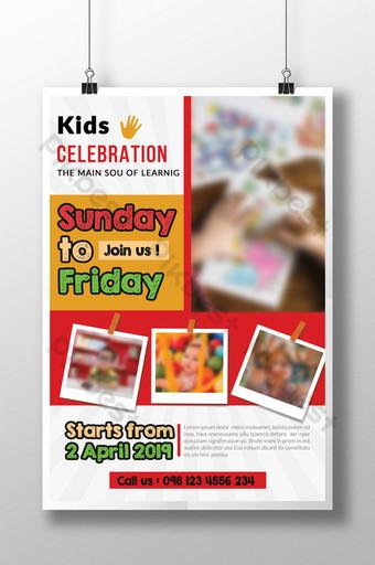 Modèles de flyers d'activités pour enfants pour enfants dans des couleurs assorties Modèle PSD