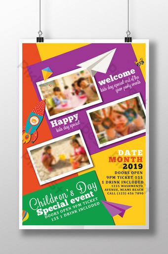 Modèles de flyers de célébration de la journée des enfants colorés dans des couleurs assorties Modèle PSD