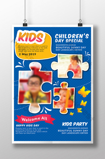 Modèles de flyers de fête des enfants bleus Modèle PSD