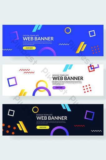 himpunan memphis sepanduk laman web dengan elemen geometri pelbagai warna murni Latar Belakang Templat AI
