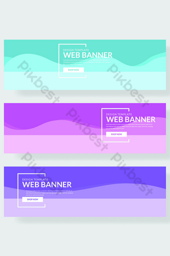 kumpulan spanduk situs web dengan gelombang dalam berbagai macam warna Latar belakang Templat AI