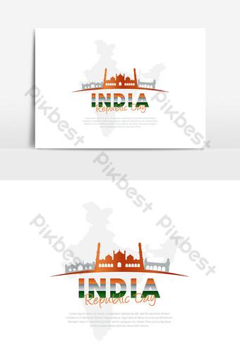día de la independencia de la república india elemento gráfico en silueta Elementos graficos Modelo AI
