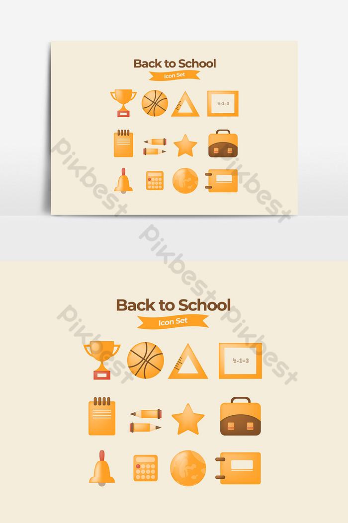 Набор иконок на Снова в школу в золотых тонах и плоский и плавный дизайн