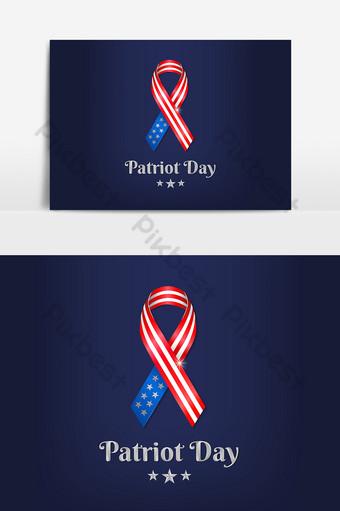 Elemento gráfico del día del patriota 911 con franja impresa con bandera nacional Elementos graficos Modelo AI