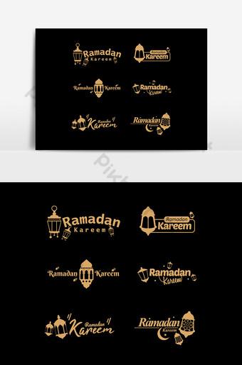 logo ramadan melabeli ikon dan lambang dalam desain datar dan lancar serta warna emas Elemen Grafis Templat AI