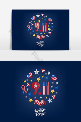 911 día del patriota con conjunto de iconos y emblemas elemento gráfico de fondo Elementos graficos Modelo AI