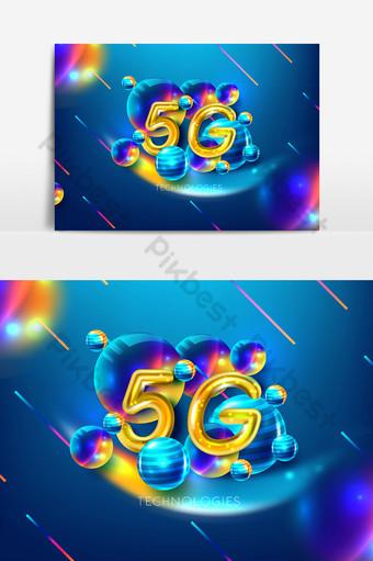 elemento gráfico de logotipo dorado 5g en fondo surtido Elementos graficos Modelo AI