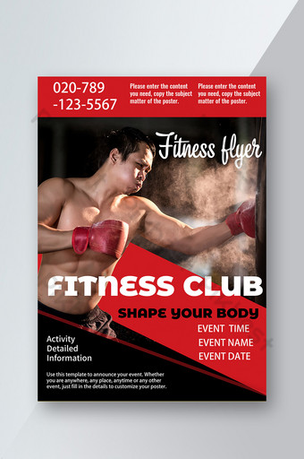 Fitness Workout Boxing Man Muscle Course Segmentation Flyer Modèle PSD