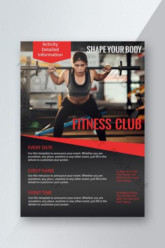 Fitness Workout Dumbbell Man Power Sense Couleur Rouge Noir Flyer Modèle PSD