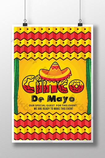 Flyers de jour de célébration Cinco De Mayo jaune en rouge et jaune Modèle PSD