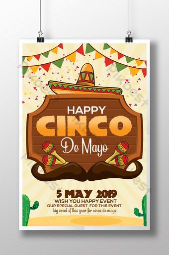 Flyers de jour de célébration de Cinco De Mayo avec chapeau et planche de bois Modèle PSD