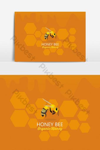 vector logo de abeja de miel en diferentes fondos con panales y goteo de miel Elementos graficos Modelo EPS