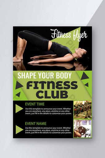 Fitness Club Triangle Yoga Pose en forme de corps en forme de flyer plat et vert Modèle PSD