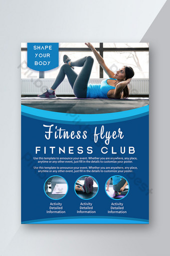 Fitness Club Body Shaping Blue Serenity Feeling Exercise Flyer Template PSD