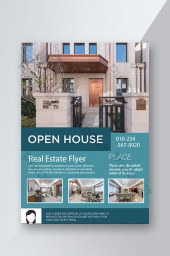 Immobilier Ouvert Commercial Vente House Square Blue Flyer Modèle PSD
