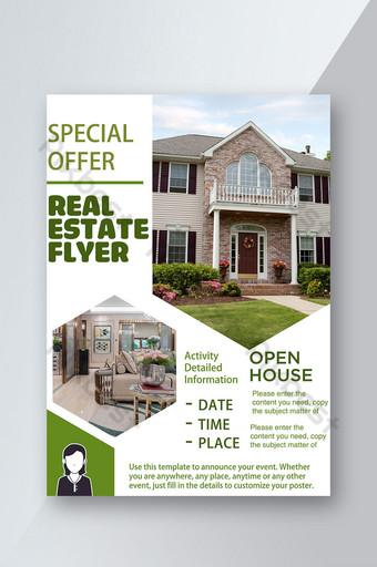 Real Estate Villas Honeycomb Hexagon Agents immobiliers Flyer vert Modèle PSD