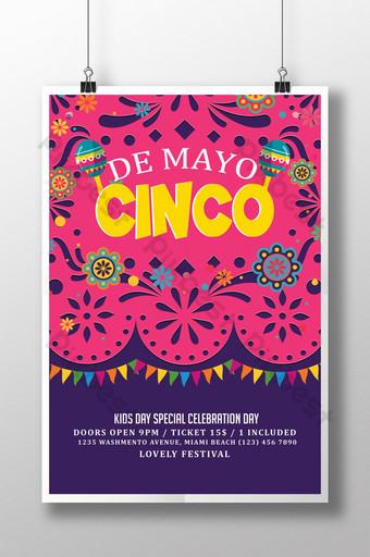 Modèle de Flyer coloré Cinco De Mayo sur fond rose et violet Modèle PSD