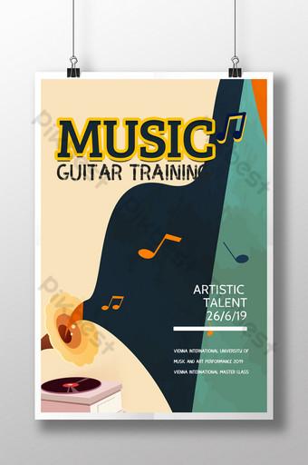 formación musical educación aprendizaje plantilla de cartel retro Modelo PSD