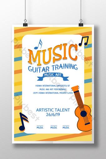 Modèle d'affiche de dépliant d'apprentissage pour l'éducation à la musique de dessin animé Modèle PSD