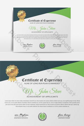 شهادة خبرة قوالب باللون الأخضر والرمادي قالب PSD