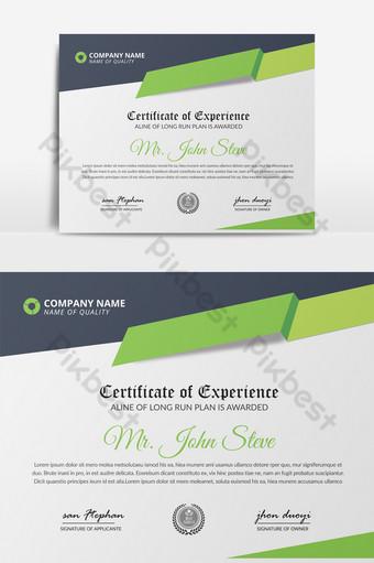 قالب شهادة نمط الشركة باللونين الأخضر والرمادي قالب PSD