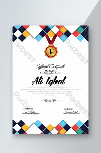 plantilla de impresión de certificados oficiales con formato ai Modelo PSD