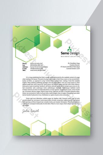 Modèle de papier à en-tête vert au format Word Modèle PSD
