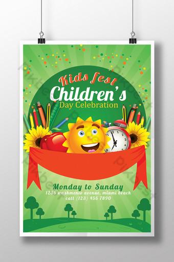 Modèle d'impression de flyer du festival de la fête des enfants Modèle PSD