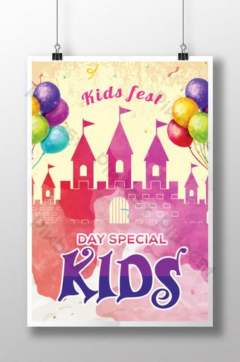 Flyers de la journée des enfants à l'aquarelle Modèle PSD