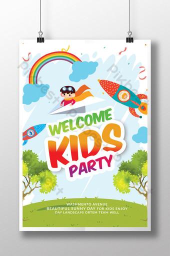 만화 스타일 키즈 데이 포스터 인쇄 템플릿 템플릿 PSD