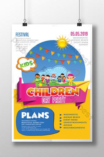 Modèles de flyers colorés pour la journée des enfants Modèle PSD