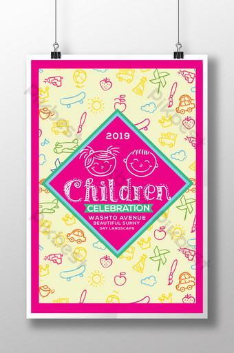 Modèles de flyers pour la journée des enfants roses Modèle PSD