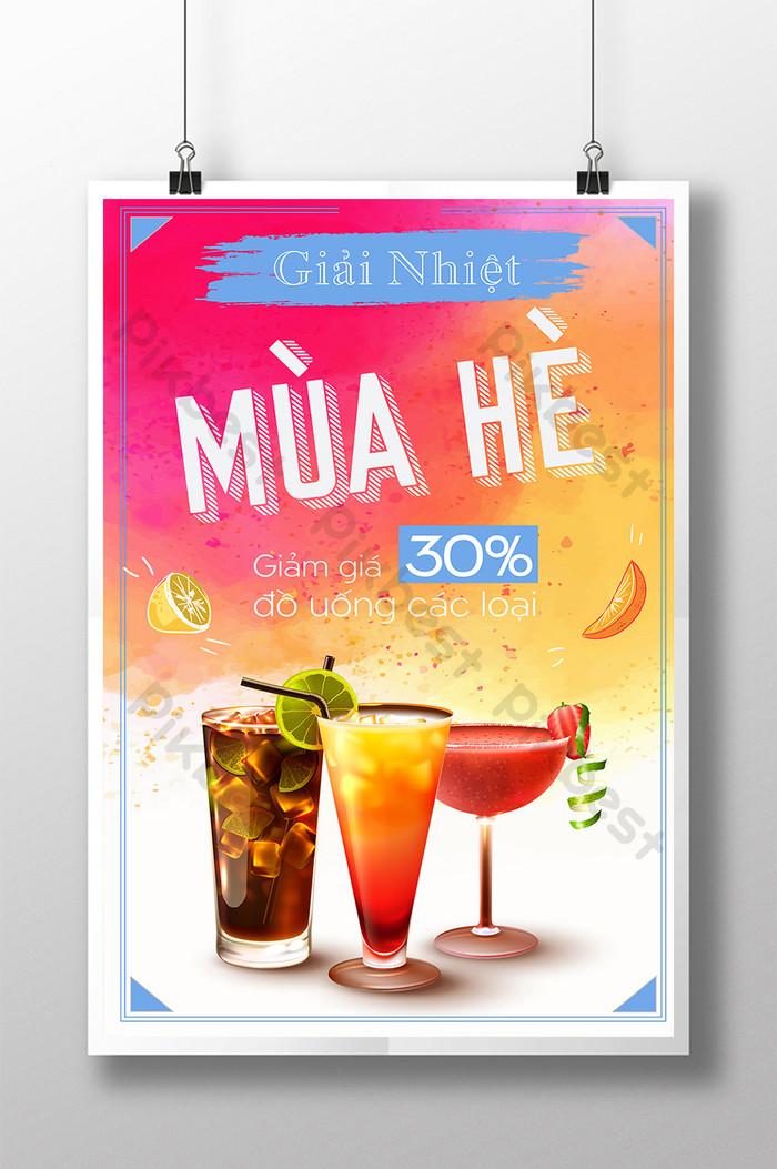 poster đồ uống mùa hè các loại giảm giá hấp dẫn