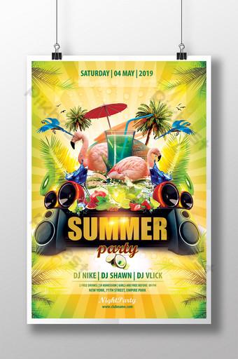 convite para festa de verão com fundo tropical Modelo PSD