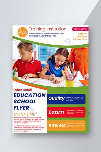 École de formation éducative, classe, dépliant amusant coloré pour enfants Modèle PSD