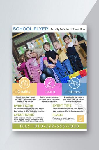 pamflet berwarna untuk anak-anak dalam kegiatan pelatihan pendidikan dan rekreasi Templat PSD