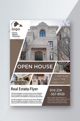 Informations sur la promotion des villas immobilières Introduction Dépliant publicitaire ouvert Modèle PSD