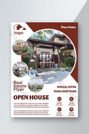 folleto de presentación de icono de venta de casa de villa al aire libre de bienes raíces Modelo PSD