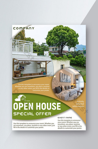Real Estate Outdoor Villa Curved Block Open House Scene Flyer Template PSD