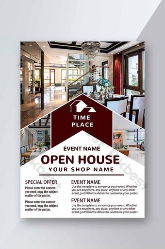 Vente de portes ouvertes sur l'immobilier Flyer Green Leaf Modèle PSD
