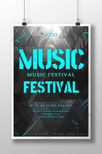 cartel de texto abstracto geométrico rock festival de música Modelo PSD